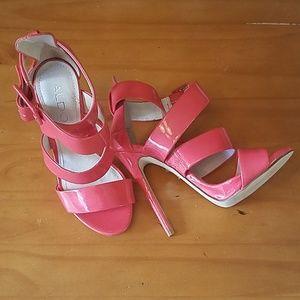 Aldo Coral Patent Leather Strappy Stilettos